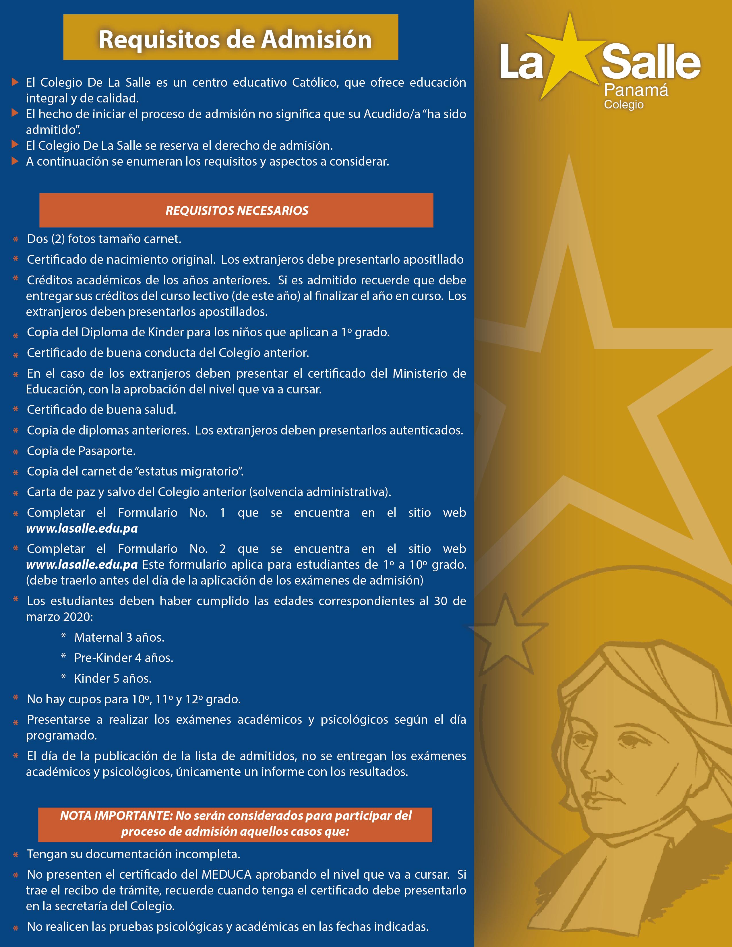 Calendario Escolar 2020 Panama Meduca.Admision Alumnos De Primer Ingreso